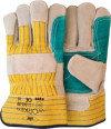 Splitlederen handschoen met groene pistoolversterking