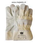 Rundsplitlederen handschoen met 7cm ecru kap