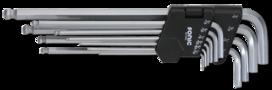 Stiftsleutel inbus, extra lang met kogelkop 10-delig, SAE