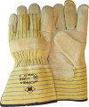 Nerflederen handschoen met gele gestreepte kap