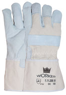Nerflederen handschoen met 10 cm canvas ecru kap